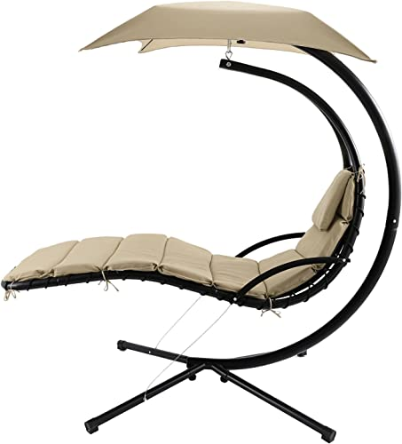 ANCHEER Hanging Chaise Lounger Arc Stand Air Porch Patio Swing Hammock Chair with Canopy