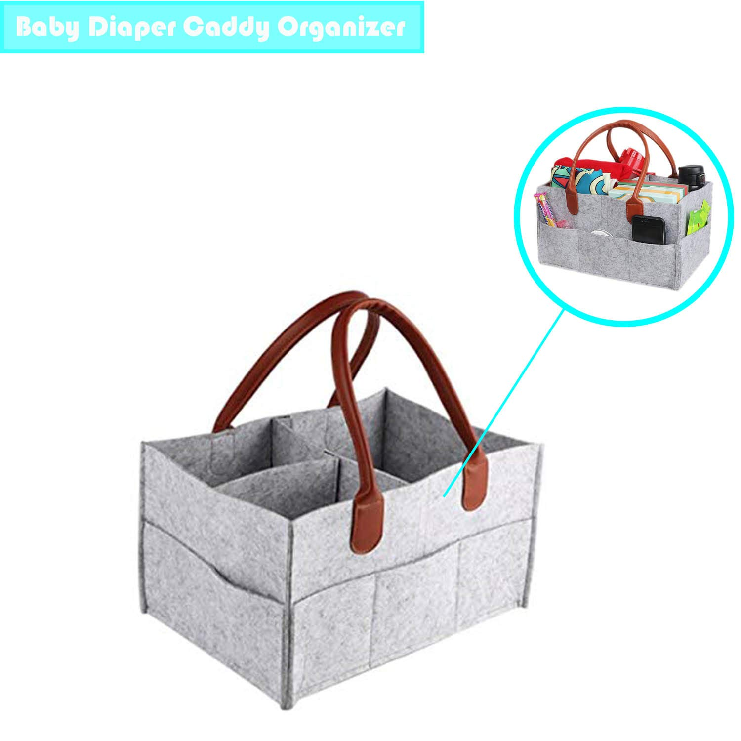 Baby Diaper Caddy Organizer,Portable Diaper Caddy Tote,Multiple Compartments Gray Felt Storage Basket for Diaper, Wipes, and Toys- Newborn Registry Must Have XK-Life