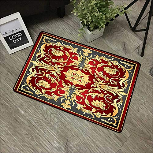 Clear printed pattern door mat W35 x L59 INCH Turkish Pattern,Ottoman Spiral Foliage Pattern Frame Filigree Style Royal and Retro,Ruby Mustard Black Natural dye printing to protect your baby's skin ()
