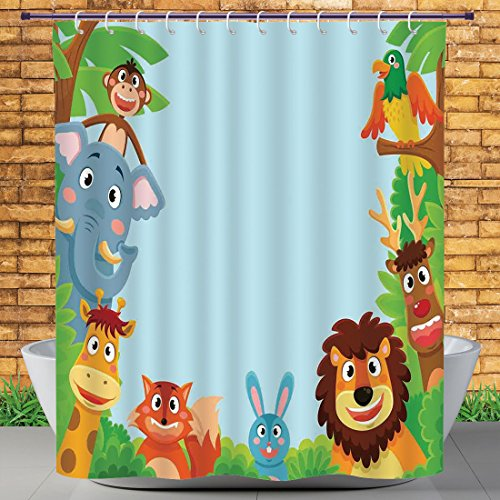 Beautiful Shower Curtain by Homenon,Kids,Cute Jungle Cartoon Animals Parrot Bird Bunny Fox Giraffe Monkey Deer Antler Lion Art Print Decorative,,Polyester Fabric Bathroom Shower Curtain Set with Hooks