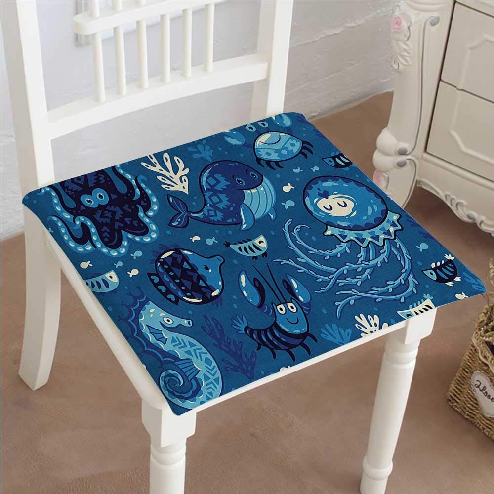 Outdoor Chair Cushion Deep with Like s Whale and Moss Print Blue Comfortable, Indoor, Dining Living Room, Kitchen, Office, Den, Washable 26''x26''x2pcs by Mikihome