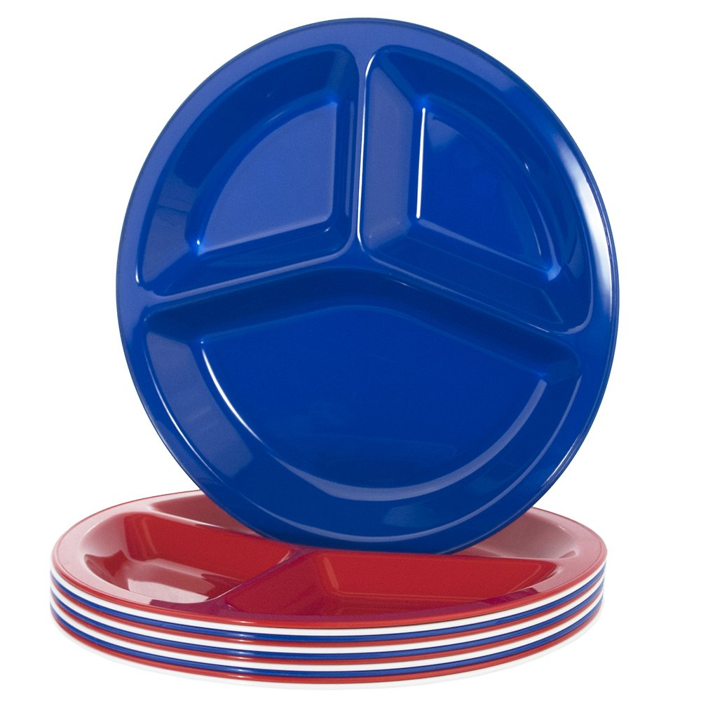 Liberty 10-inch Plastic Divided Plates | set of 12 in 3 Assorted Colors