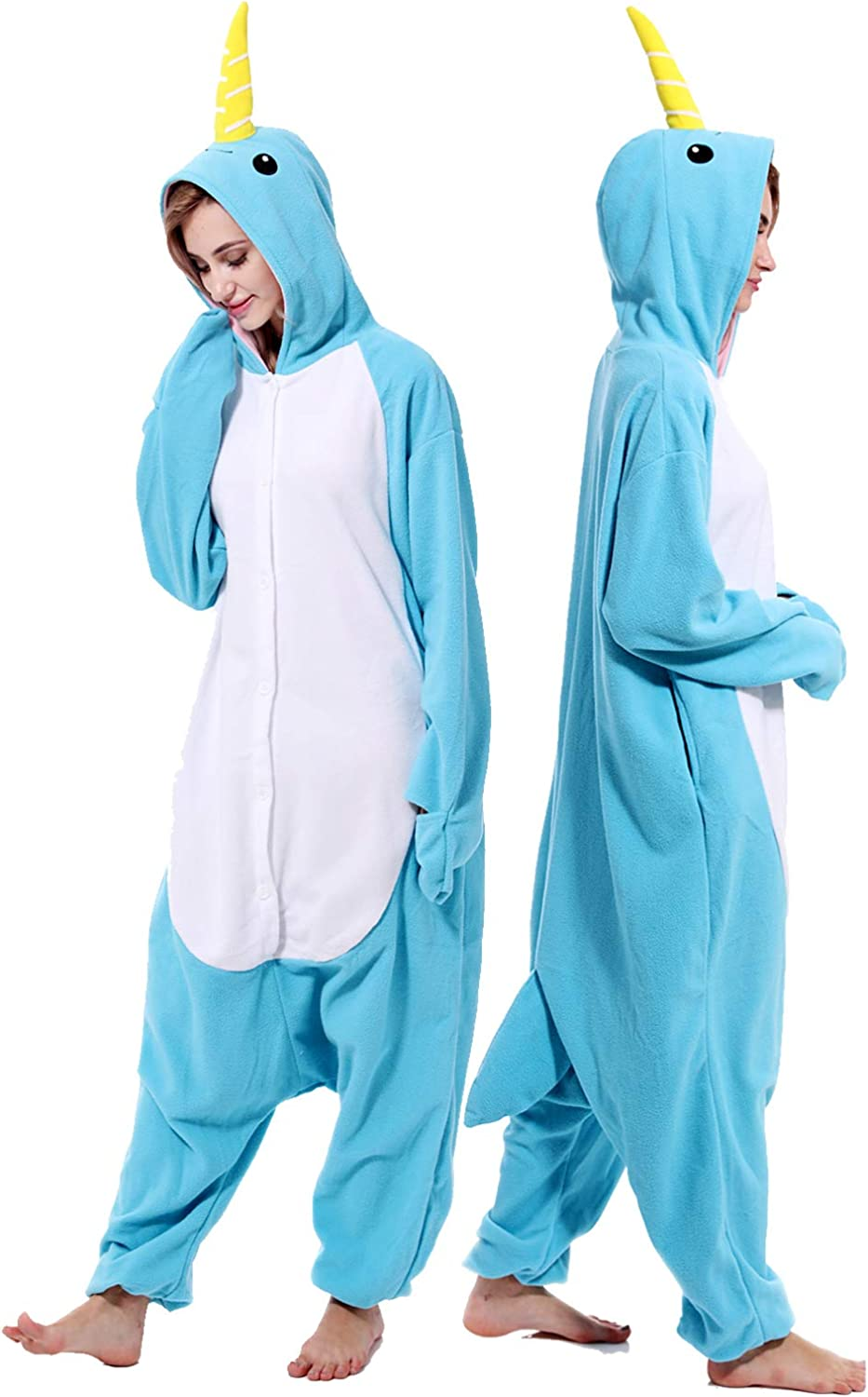 Unisex Narwhal Onesie Adult Pajamas Animal Halloween Costume Cosplay One Piece Sleepwear for Women Men