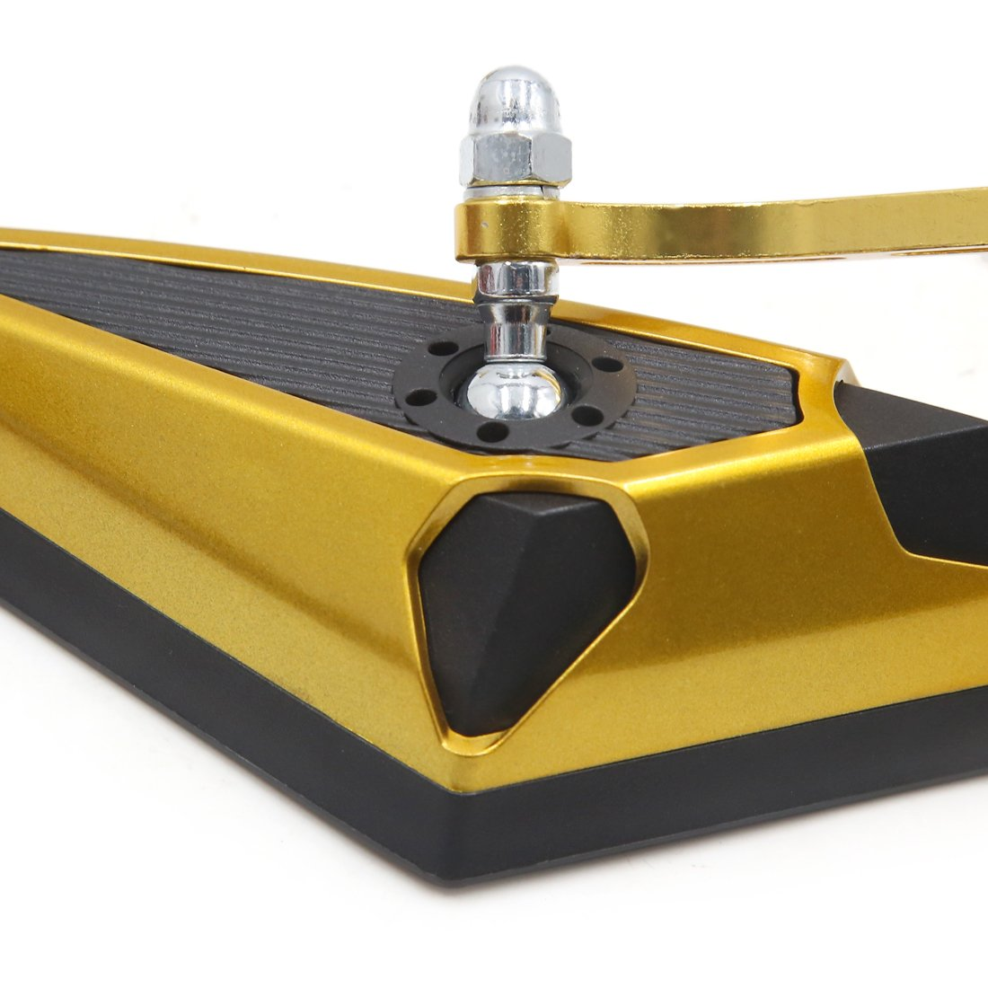 sourcingmap Par 10mm 8mm Rosca Retrovisores de Motocicleta Espejo Triangular Ajustable Dorado Negro