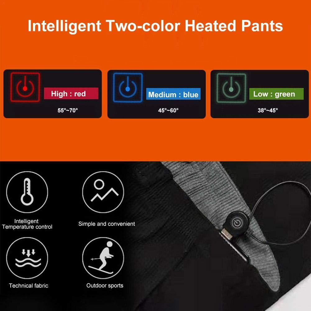609//5000 Pantalones con calefacci/ón USB para mujeres y hombres Pantalones de capa base de calentamiento c/álido recargables para invierno Deportes al aire libre Pesca Senderismo Esqu/í Patinaje