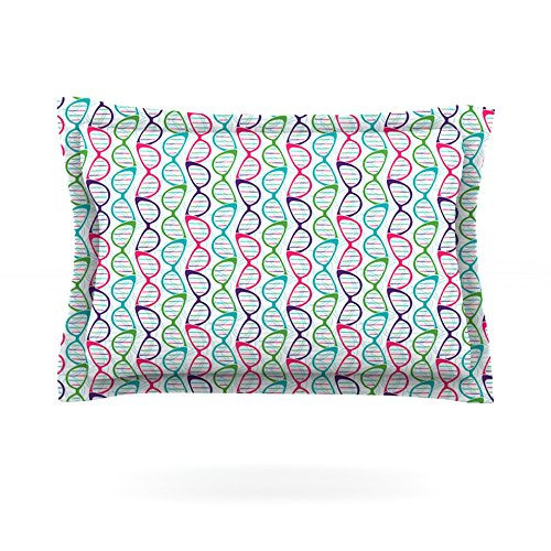 """Kess InHouse Holly Helgeson """"Geeky DNA"""" Pink Blue 40 by 20-Inch Cotton Sham, King"""