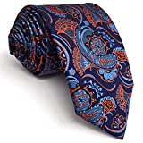 Shlax&Wing New Paisley Blue Orange Mens Neckties Extra Long Ties For Men 63''