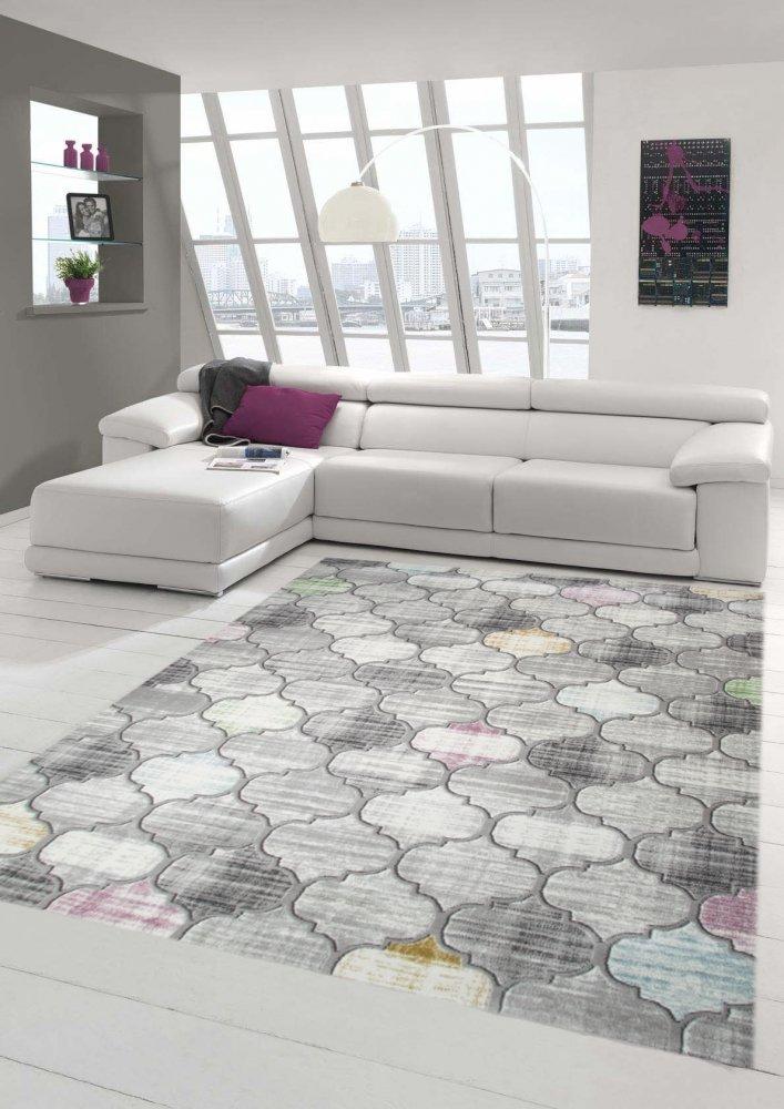 Designer und Moderner Teppich Kurzflor Marokkanisches Muster in Grau Lila Senfgelb Größe 200 x 290 cm B079RBFM2D Teppiche