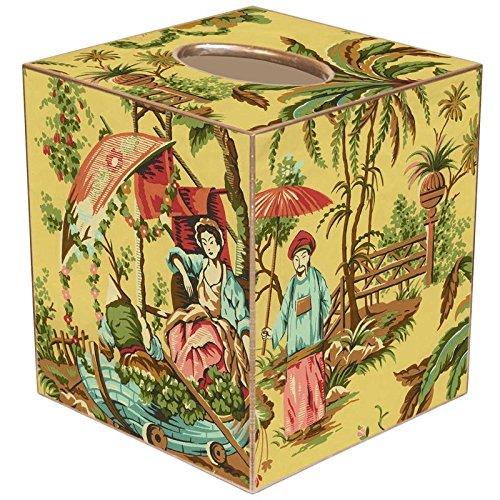 Yellow Chinois Paper Mache Tissue Box Cover (Yellow Paper Mache)