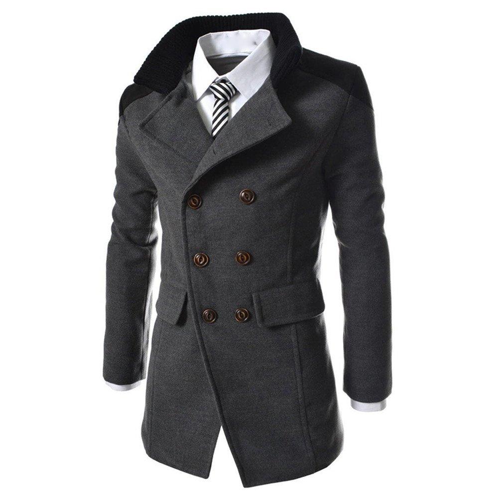 kingf Men's Trench Coat Double Breasted Woolen Peacoat Parka Long Jacke kingfansion Men