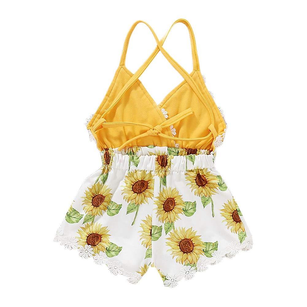 Hongyuangl Baby M/ädchen Sommerkleidung Blumenspielanzug Shorts One Pieces Strap Backless Jumpsuit Halter Kleinkind Outfits