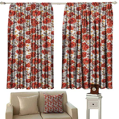 Printed Curtain House Decor Blooming Poppies Ladybird Bumblebee Bee and Butterflies Summer Joyful Art Light Blocking Drapes with Liner W84 xL72 ()