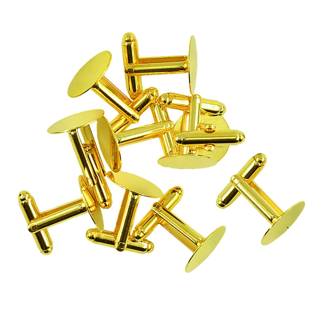MagiDeal 10 Pieces 15mm Round Cuff Link Base Cufflink Blanks Setting Trays French Cufflink Blank Pad Cufflink Cabochon Cameo Jewelry Findings - gold non-brand