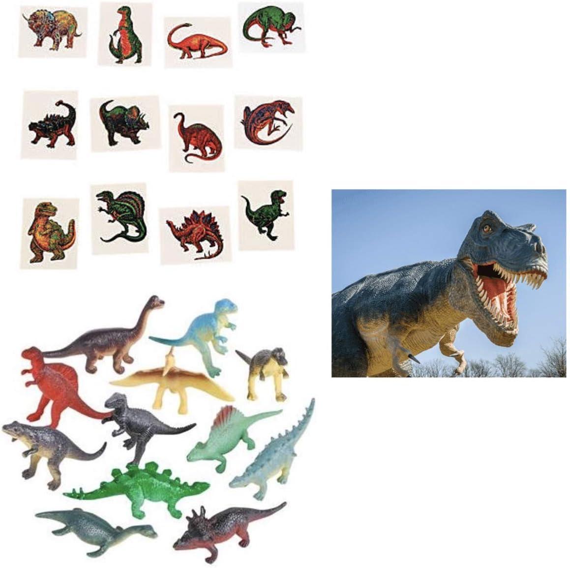 120 Dinosaur Party Favors - 72 Tattoos - 24 Mini Figures & 24 Stickers - Teacher Classroom Reward Incentive School Supplies Jurassic Prehistoric T-Rex Steg