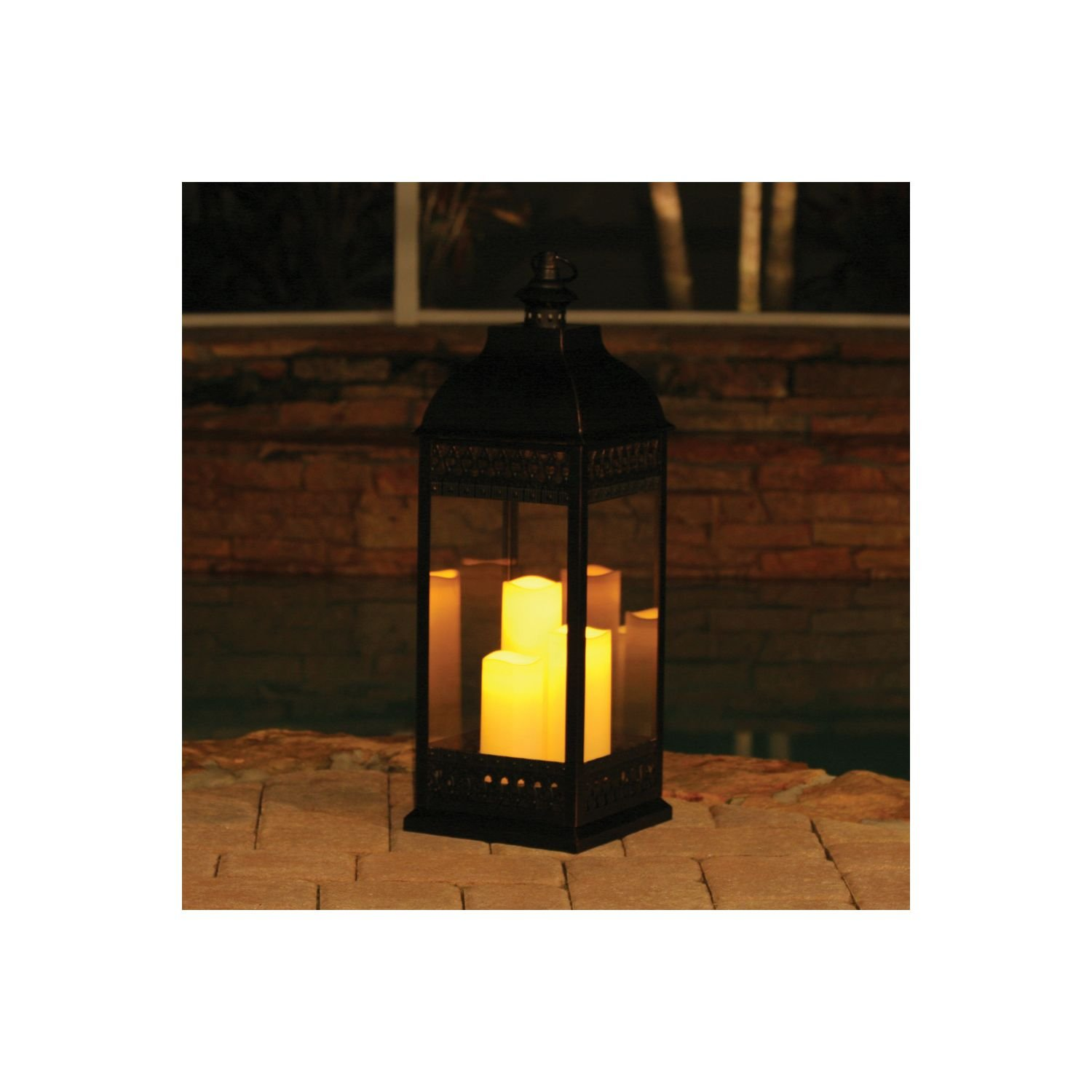 San Nicola Triple LED Candle Lantern, Bronze - 28.25'' Tall by MegaDeal