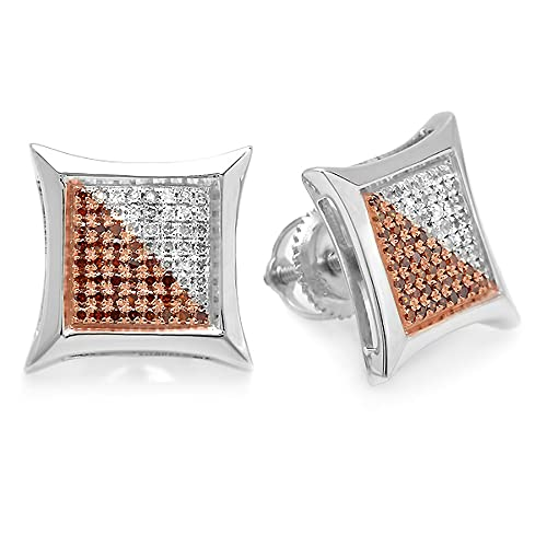 ctw Only 1pc Round Blue /& White Diamond Micro Pave Setting Kite Shape Stud Earring Dazzlingrock Collection 0.04 Carat