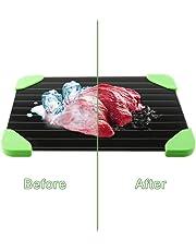 Bandeja de descongelación rápida con esquina de goma verde, bandeja para descongelar carne, alimentos congelados rápidamente