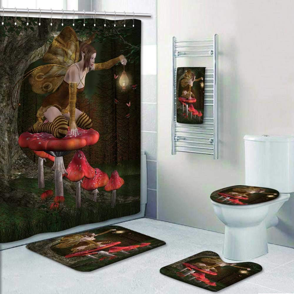 Philip-home 5 Piece Banded Shower Curtain Set Fairy into The Wood Decorate The Bath