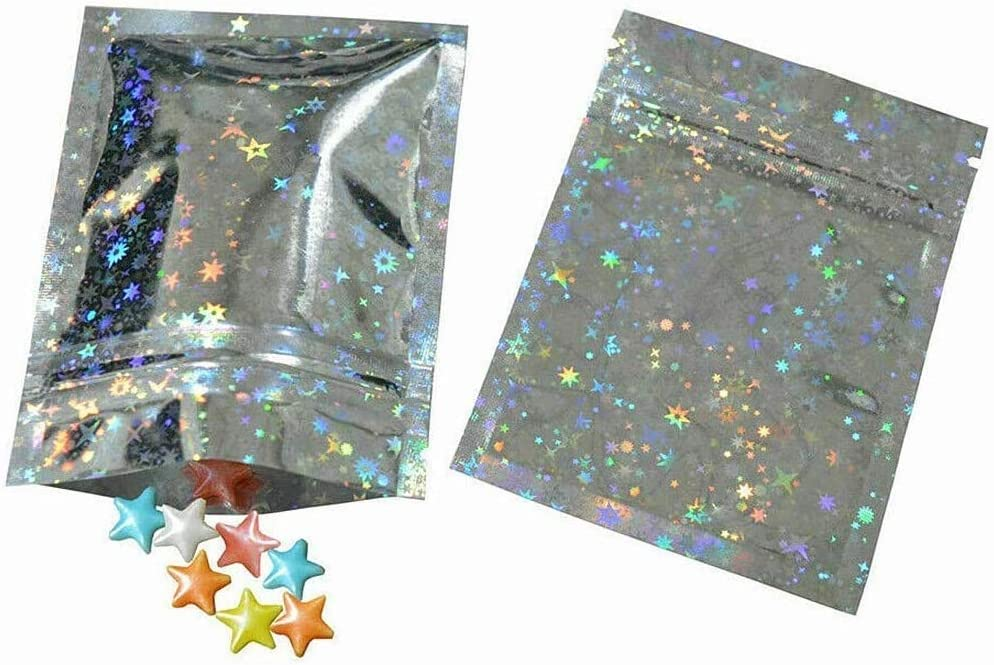 100Pcs Heat Sealable Double-Sided Colored Metallic Foil Mylar Flat Ziplock Bag Zipper Bags Aluminum Foil Mylar Bags for Jewelry Food Storage Packing Bag 3.9x5.9in(10x15cm)