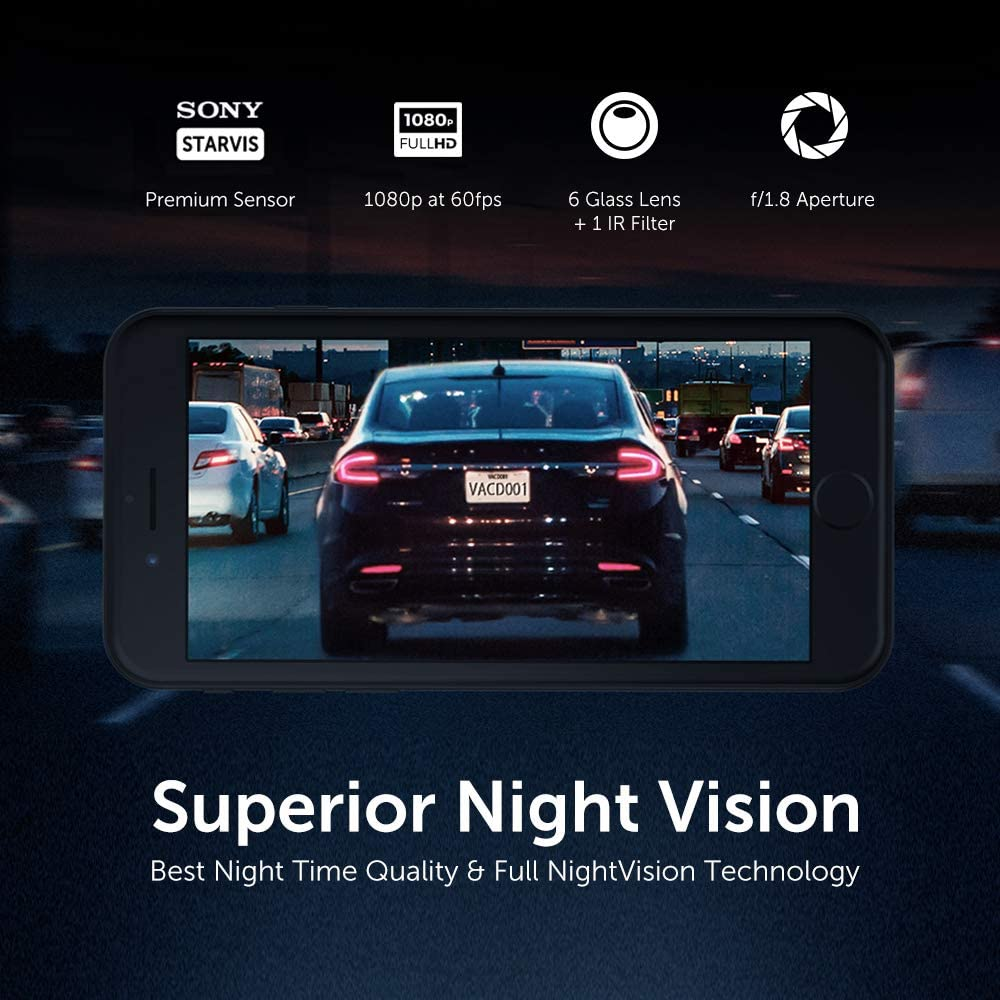Night Vision with Sony IMX291 Sensor GPS /& Snapshot Button Included VAVA Dash Cam with Feature-Rich App G-Sensor 360/° Swivel View