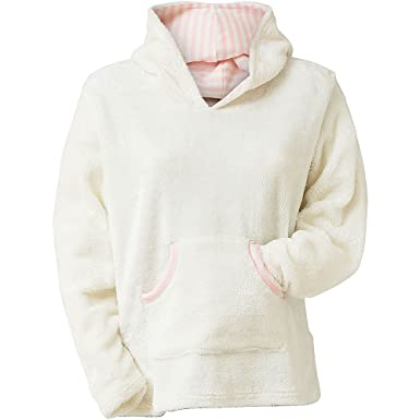 d884230924 Cameo Supersoft Borg Fleece Women s Hooded Cosy Loungewear Top - Cream -  14 16  Amazon.co.uk  Clothing
