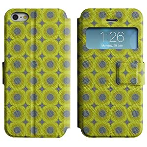 LEOCASE círculos lindos Funda Carcasa Cuero Tapa Case Para Apple iPhone 5 / 5S No.1006286