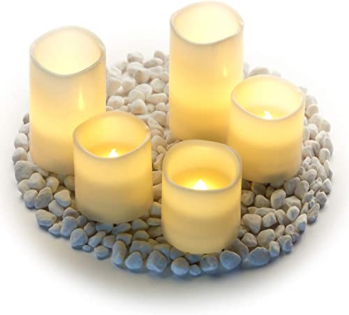 Hayley Cherie – Real Wax Flameless Candles with Timer Set of 5 – LED Candles 5 and 3 Tall – Flickering Amber Flame – Battery Operated Pillar Candles Large Unscented Ivory