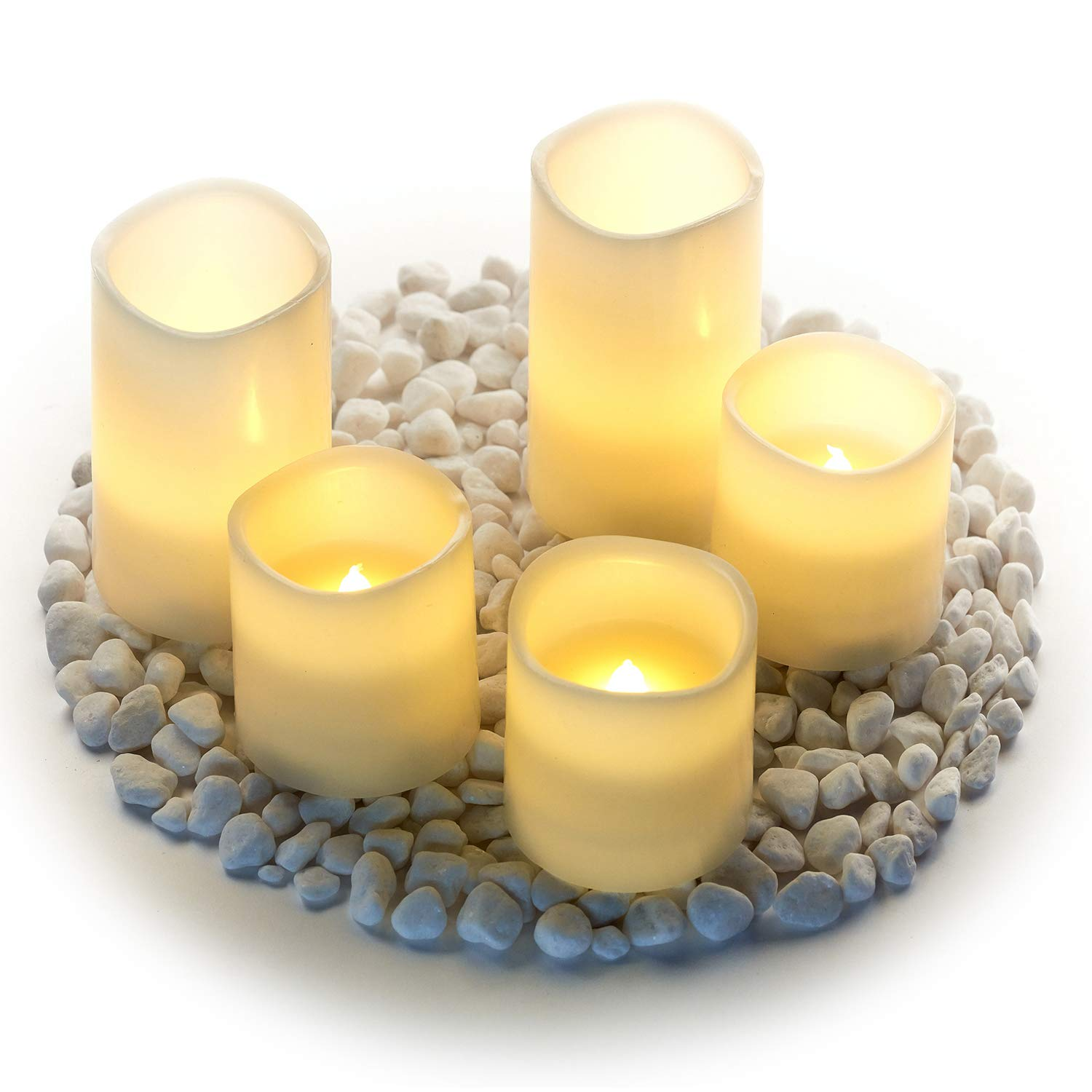 Hayley Cherie - Real Wax Flameless Candles with Timer (Set of 5) - LED Candles 5'' and 3'' Tall - Flickering Amber Flame - Battery Operated Pillar Candles - Large Unscented (Ivory)