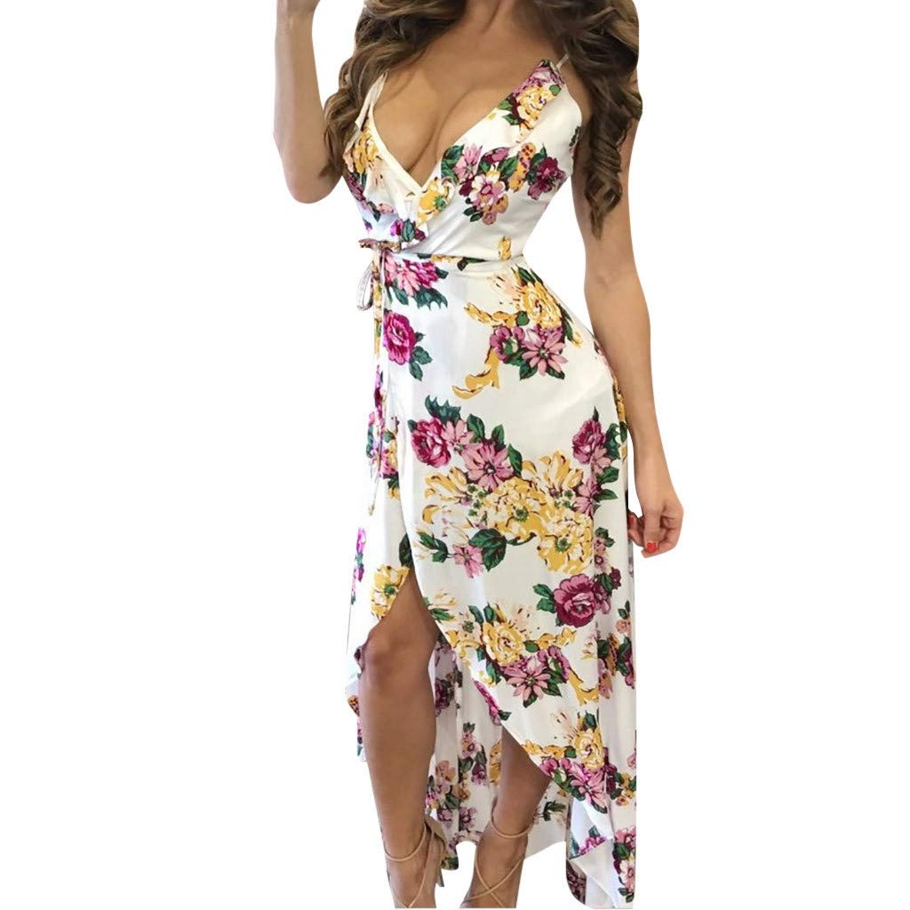 Wokasun.JJ2019 New Women Maxi Boho Dress Floral Summer Beach Long Dress Evening Cocktail Party Dress(White,S) by Wokasun.JJ_Dress