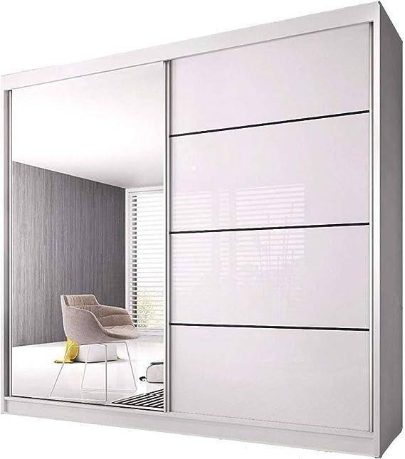 Checo Home and Garden - Armario con puertas corredersa, color blanco y morado (183 cm): Amazon.es: Hogar