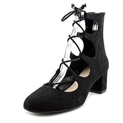 Womens Percy Suede Round Toe Ankle Strap Classic Pumps