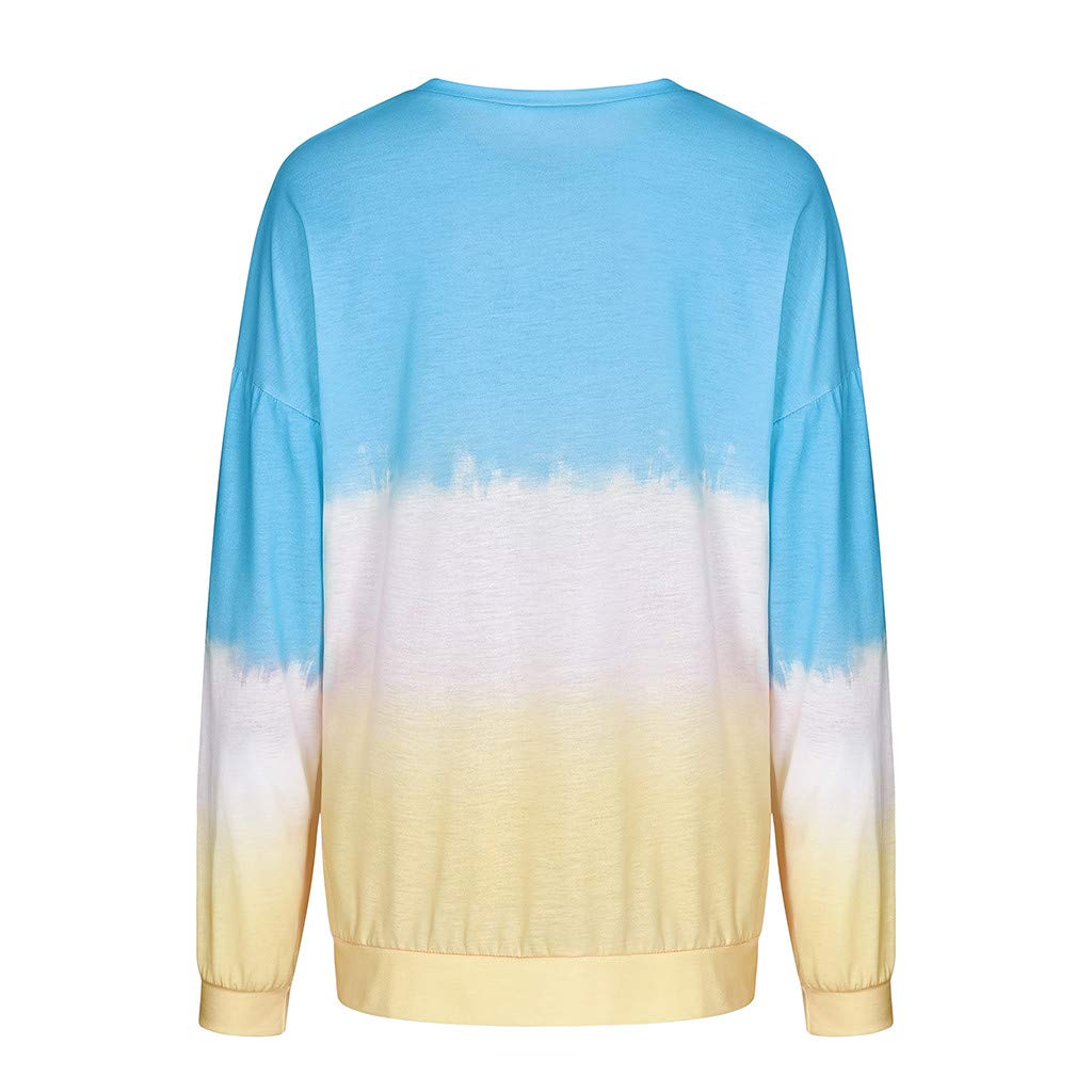 Dainzuy Womens Fashion Pullover Sporty Shirt Comfy Long Sleeve Blouse Loose Tops Sweatshirts Gradient Color Outwear