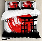 Japan Duvet Cover Set King Size by Lunarable, Mystical Historical Architecture Artistic Brushstrokes Religion Heritage, Decorative 3 Piece Bedding Set with 2 Pillow Shams, Dark Coral Black White