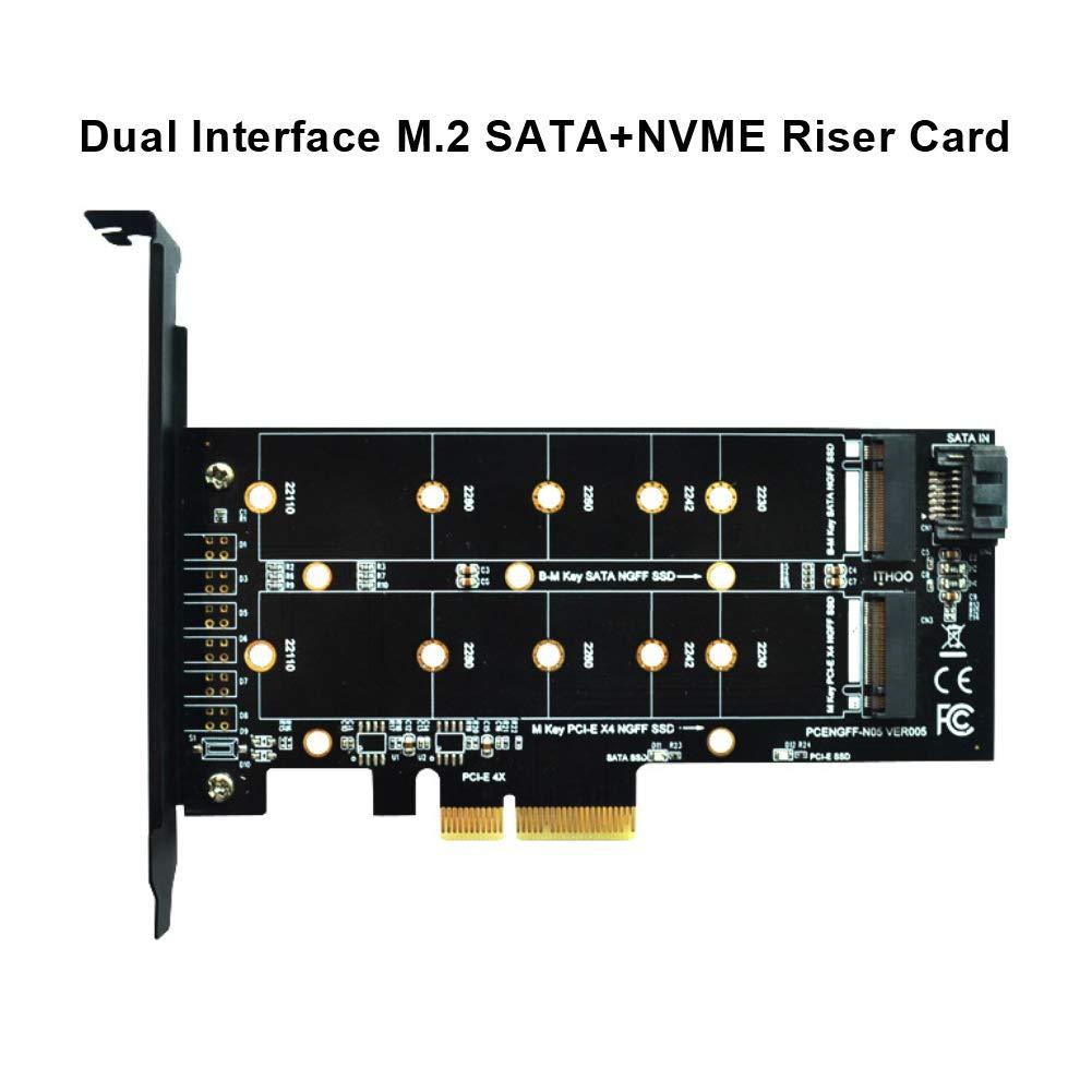 heaven2017 Pro M.2 NVMe SSD NGFF to PCIE X4 Adapter M//B Key Dual Interface Converter Card