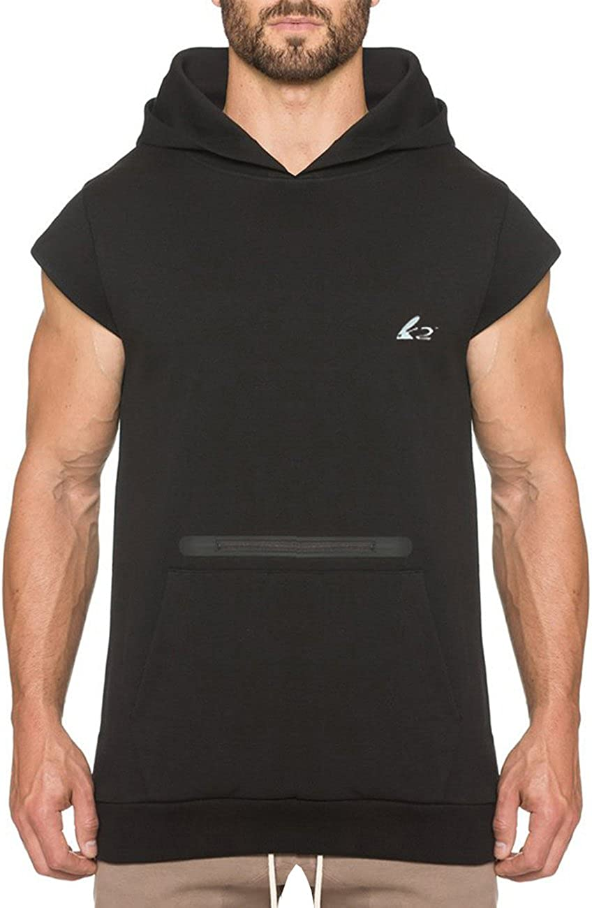 PAIZH Men's Drop Shoulder Workout Hoodie Sleeveless Gym Casual Sweatshirt