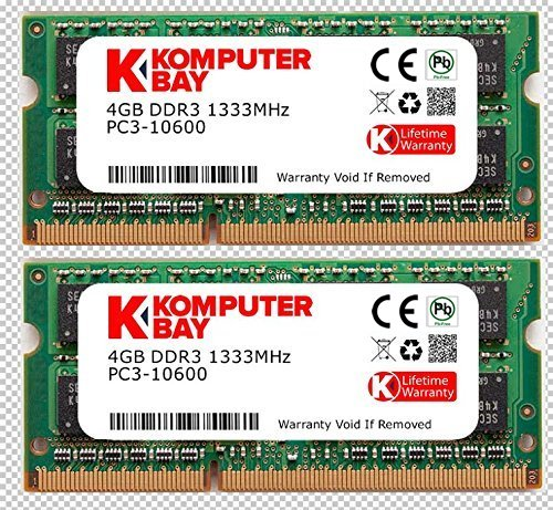Memoria Ram 8gb Komputerbay (2x 4gb) Ddr3 Sodimm (204 Pin) 1333mhz Pc3-10600 (9-9-9-25) Para Apple Mac Mini