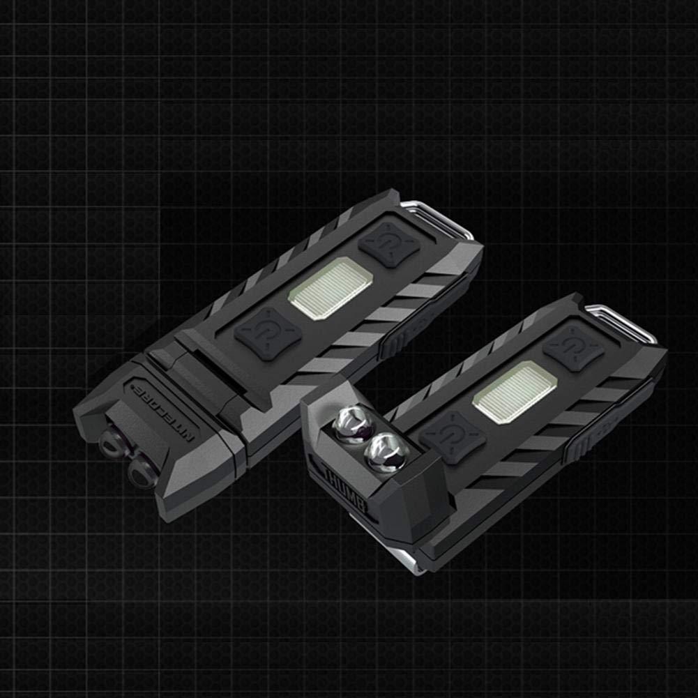 LED-Taschenlampe drehbar Prosperveil Nitecore tragbare Mini-Taschenlampe EDC-Taschenlampe Schwarz Daumen-Eckleuchte