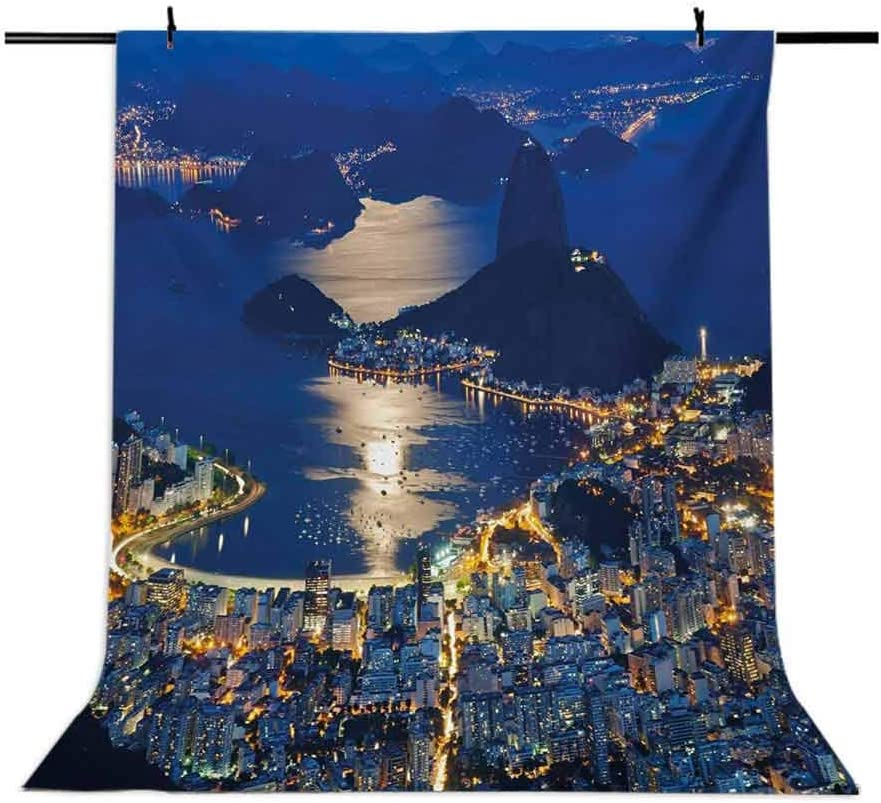 Night 10x12 FT Photography Backdrop Aerial View of Mountain Sugar Loaf and Botafogo Rio de Janeiro Background for Baby Shower Birthday Wedding Bridal Shower Party Decoration Photo Studio