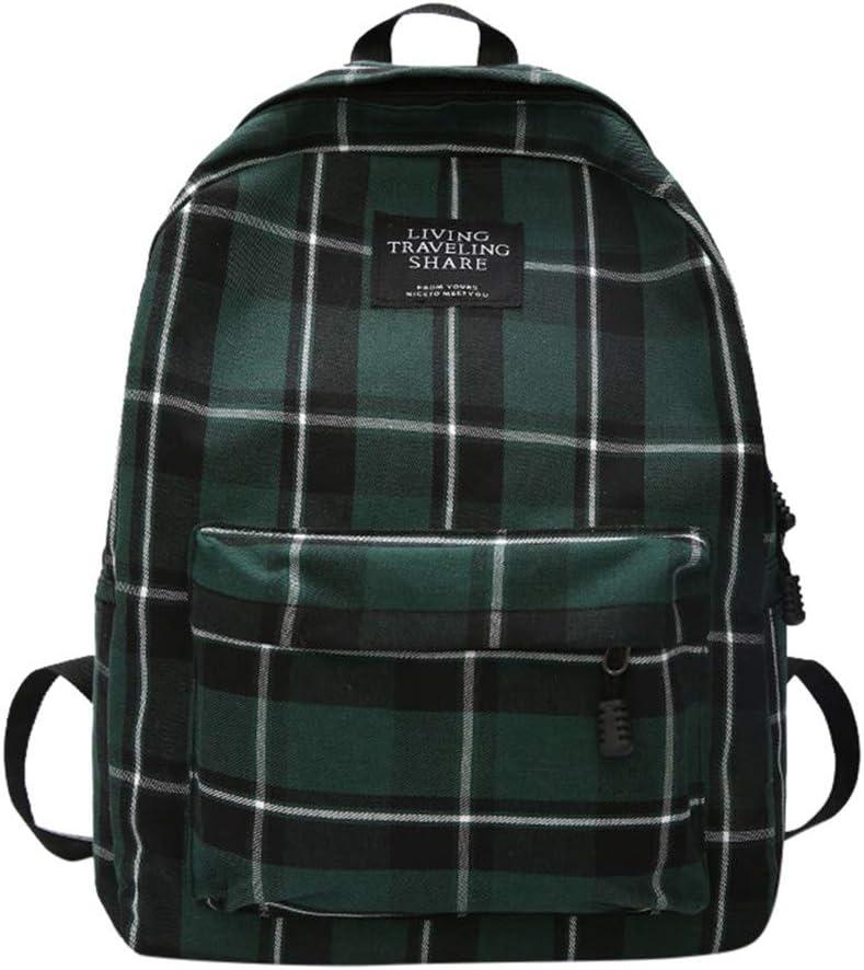 バックパック スクールバックパック レディース ニューバッグ 女性 学生 カレッジ ウィンドバッグ 格子柄 キャンバス バックパック 旅行バッグ