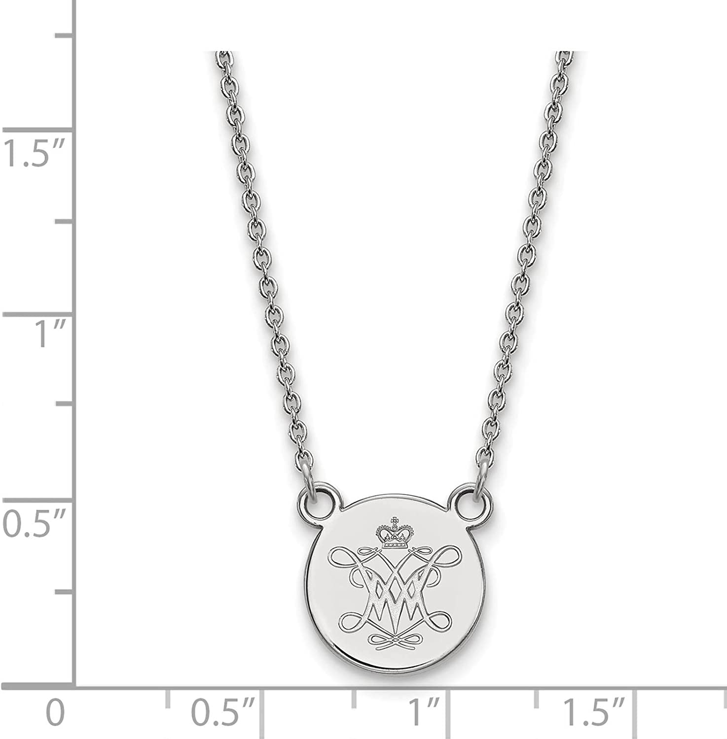 925 Sterling Silver Rhodium-plated Laser-cut University of Alabama Small Pendant