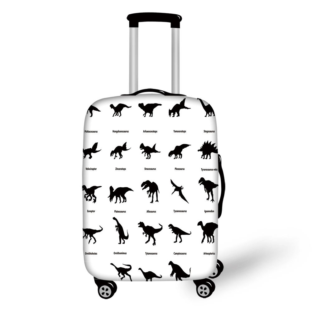 Travel Luggage Cover Suitcase Protector,Dinosaur,Collection of Different Dinosaurs Silhouettes with Their Names Evolution Wildlife,Black White,for Travel