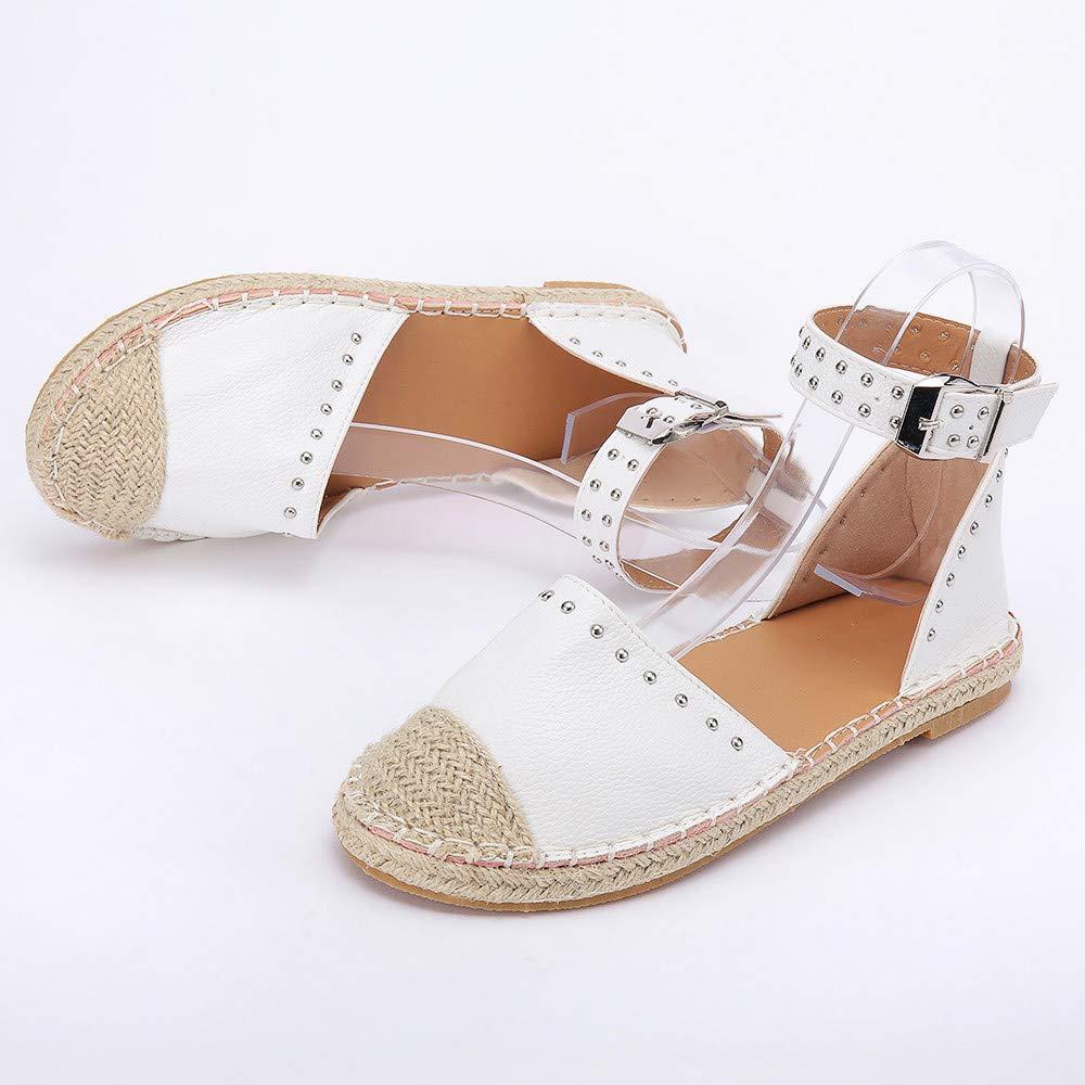 Kinlene Sandalias Zapatillas Zapatos de tacón Women Ladaies Fashion Woven Flat Sandals Buckle Strap Roman Shoes: Amazon.es: Ropa y accesorios