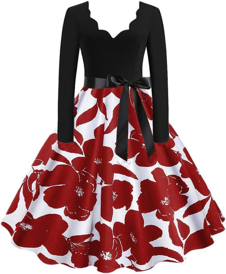 ELECTRI Robe Femme Vintage Ann/ées 50 Pin up Robe de Soir/ée Cocktail C/ér/émonie Style Audrey Hepburn Rockabilly Swing Col en V Mancheron Robe De Plage