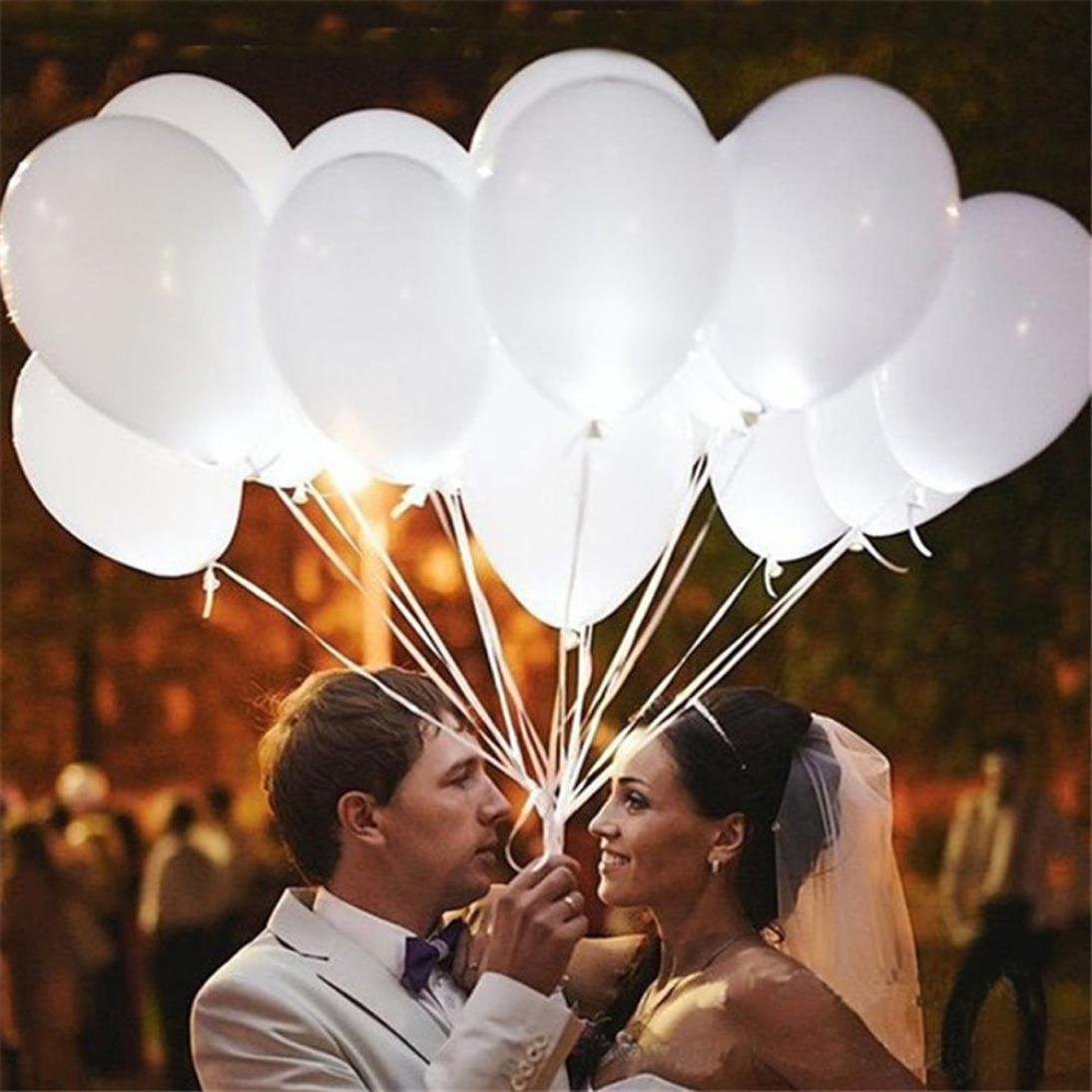 Gbell 12Inch Pearl White Glow LED Balloons- 20PC/30PC/50PC Flash Light Ball Lamp Lantern Cocktail Evening Party Decor- Wedding Birthday Party Supplies and Decorations (50 PC)