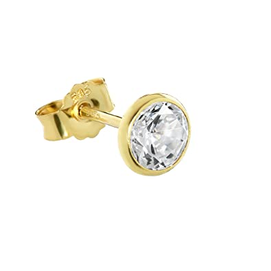 585 ECHT GOLD *** Herren Zirkonia Einzel Ohrstecker 4,5 mm