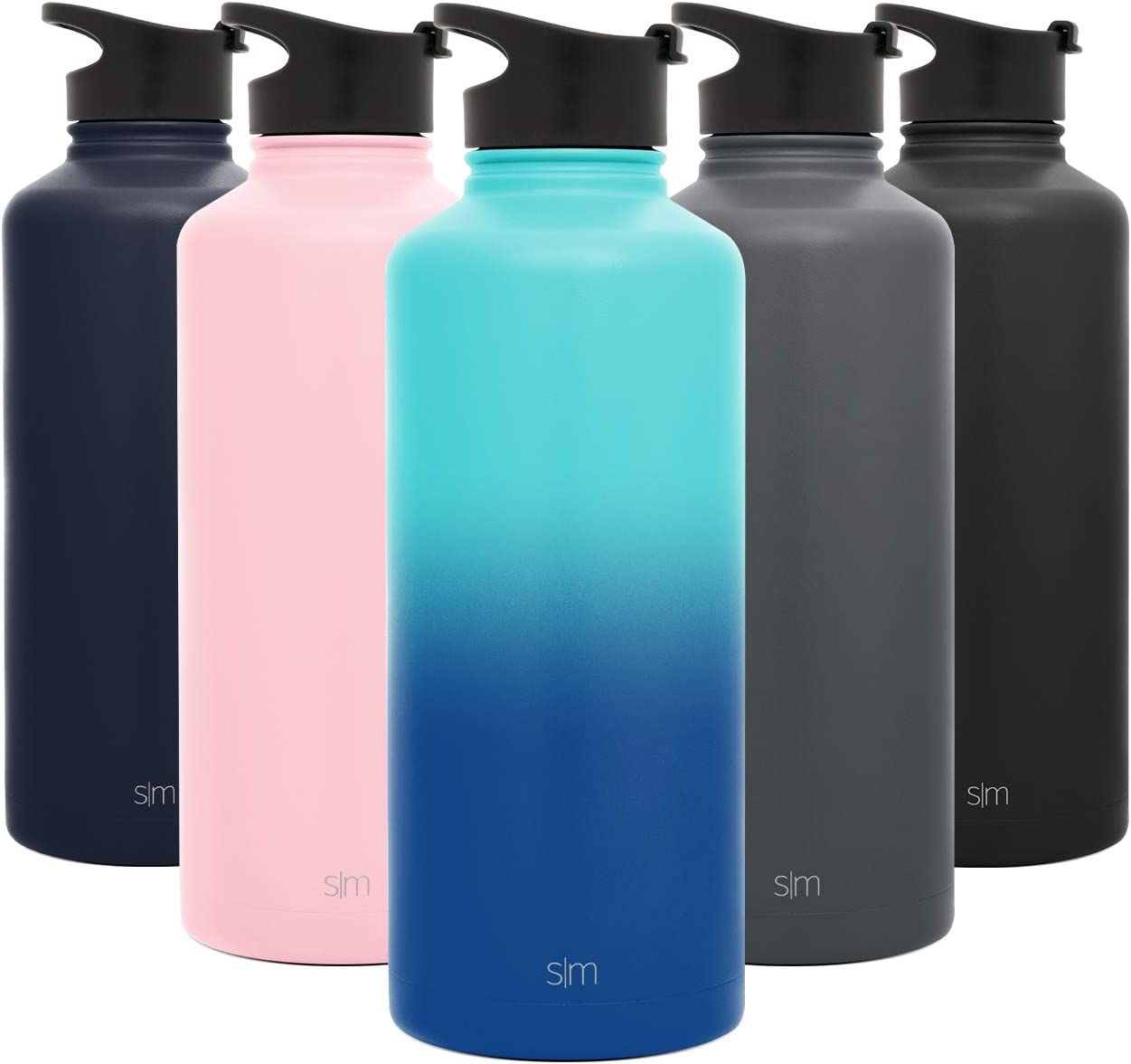 Simple Modern 84 Ounce Summit Water Bottle - Stainless Steel Half Gallon Flask +2 Lids - Wide Mouth Double Wall Vacuum Insulated Leakproof Ombre: Pacific Dream