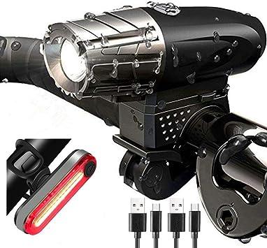 Luces De Bicicleta, Luz Bicicleta Recargable USB, Linterna ...