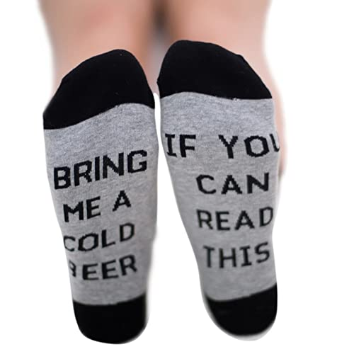If You Can Read This Bring Me A Glass of Wine/Cold Beer/Coffee Men and Women Long Crew Socks by Reefa