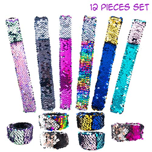 FROG SAC 12 Pcs Reversible Sequins Slap Bracelets for Kids - Mermaid Style Magic Flip Sequin Snap Bracelet Set - Great Birthday Party Favors, Easter Basket Fillers, Stocking Stuffers for Little Girls