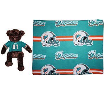 40 PCS SET NFL Miami Dolphins Plush Bear Pillow Blanket Couch Gorgeous Miami Dolphins Plush Fleece Throw Blanket
